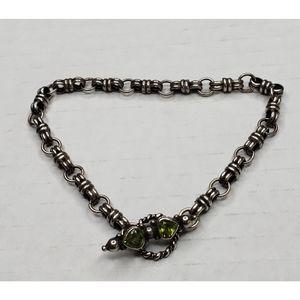 Vintage 925 Silver Green Peridot Toggle Bracelet